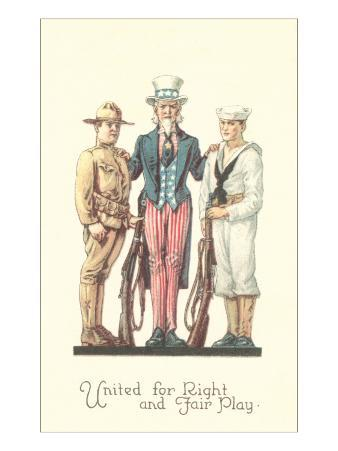 Uncle Sam with Soldier and Sailor