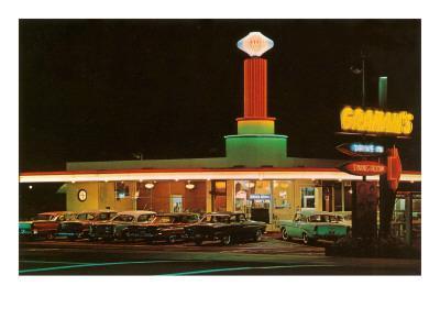 Neon-Lit Drive-In, Roadside Retro