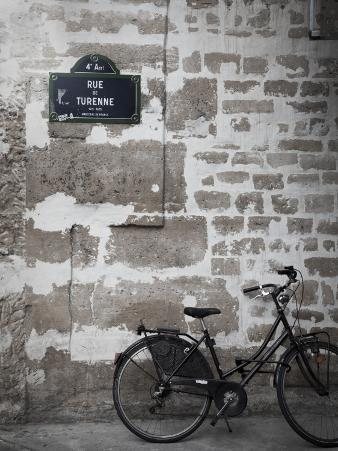 Bicycle and Street Sign, Paris, France