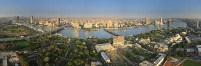 Egypt, Cairo, River Nile and City Skyline Viewed from Cairo Tower, Panoramic View