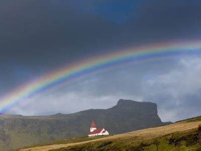 Rainbow over Church, Vik, Iceland
