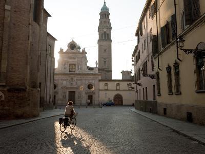 Tower of the Church of Saint John the Evangelist, Duomo on Left Parma, Emilia Romagna, Italy