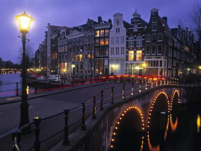 Keizersgracht Canal at Night, Amsterdam, Holland