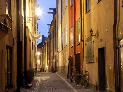 Historic Old Street in Gamla Stan (Old Town) in Stockholm, Sweden