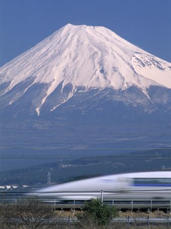 Mount Fuji and Bullet Train (Shinkansen), Honshu, Japan