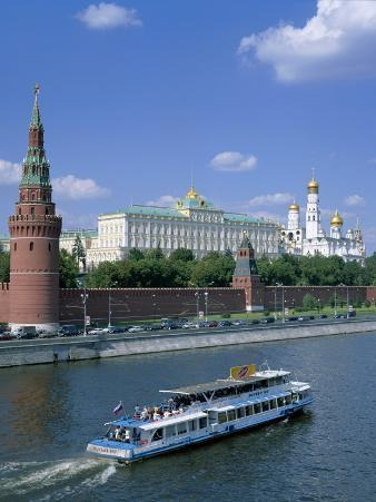 The Kremlin and Moskva River with Tourist Boat, Moscow, Russia