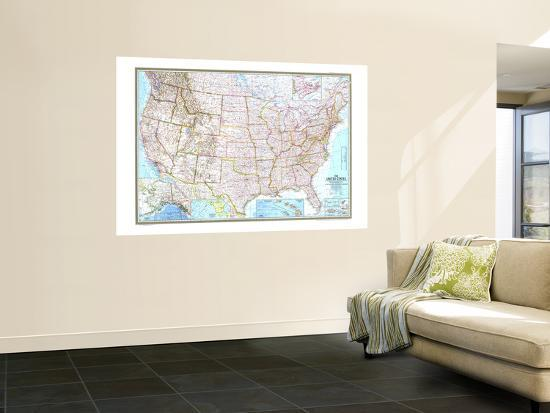 United States Map Wall Mural.1968 United States Map Wall Mural By National Geographic Maps At