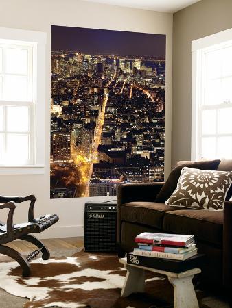 USA, New York City, Manhattan, Elevated View of Mid-Town Manhattan