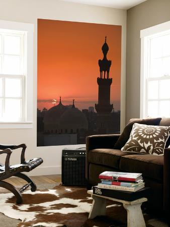 Egypt, Cairo, Islamic Quarter, Silhouette of Minarets and Mosques