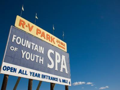 Low Angle View of a Signboard, Fountain of Youth Spa, Salton Sea, Bombay Beach, Imperial County