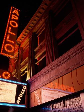 Low Angle View of a Theatre Lit Up at Night, Apollo Theater, Harlem, Manhattan, New York City