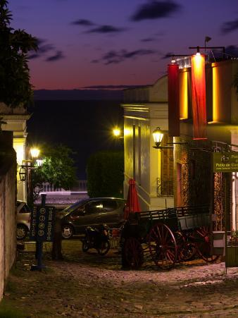 Buildings Lit Up at Dusk, Calle De La Playa, Colonia Del Sacramento, Uruguay