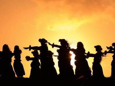 Silhouette of Hula Dancers at Sunrise, Molokai, Hawaii, USA
