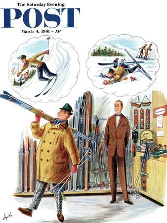 """""""New Skier,"""" Saturday Evening Post Cover, March 4, 1961"""