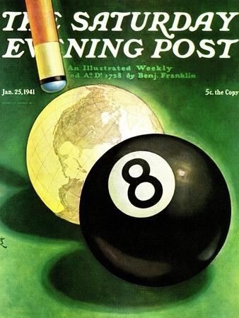 """""""World as Cue Ball,"""" Saturday Evening Post Cover, January 25, 1941"""