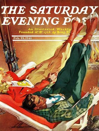 """Apres Ski,"" Saturday Evening Post Cover, February 22, 1941"