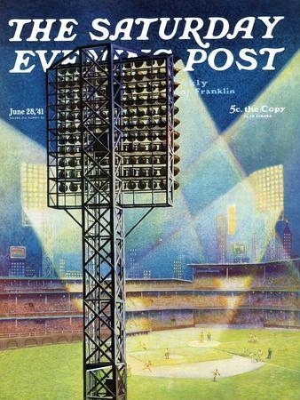"""Baseball Stadium at Night,"" Saturday Evening Post Cover, June 28, 1941"