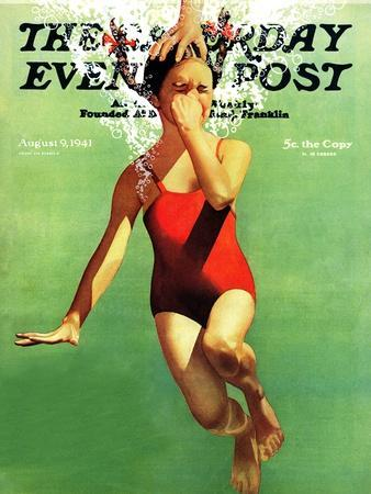 """""""Dunked Under Water,"""" Saturday Evening Post Cover, August 9, 1941"""