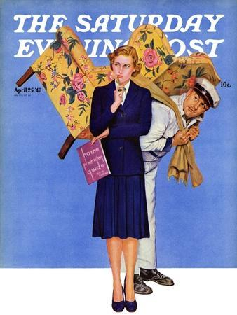 """""""New Chair,"""" Saturday Evening Post Cover, April 25, 1942"""