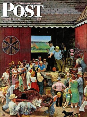 """""""Country Auction,"""" Saturday Evening Post Cover, August 5, 1944"""
