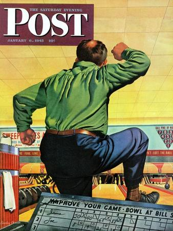 """""""Bowling a Split,"""" Saturday Evening Post Cover, January 6, 1945"""