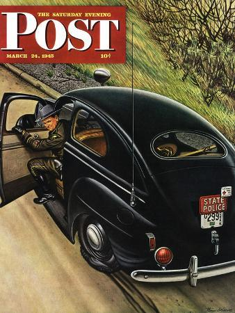 """""""Policeman with Flat Tire,"""" Saturday Evening Post Cover, March 24, 1945"""