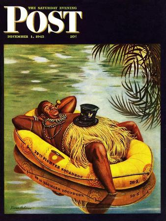"""""""Native in Army Raft,"""" Saturday Evening Post Cover, December 1, 1945"""