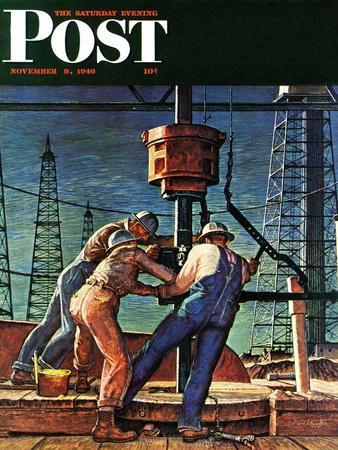 """""""Drilling for Oil,"""" Saturday Evening Post Cover, November 9, 1946"""