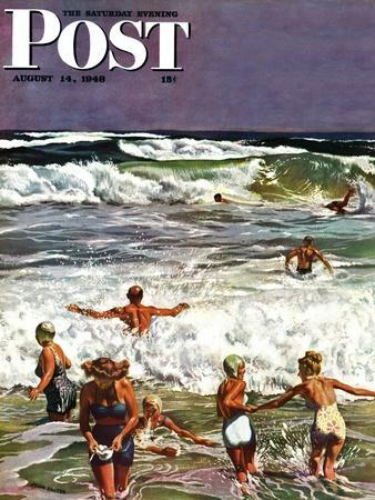 """Surf Swimming,"" Saturday Evening Post Cover, August 14, 1948"