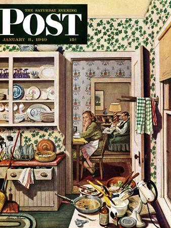 """""""After Dinner Dishes,"""" Saturday Evening Post Cover, January 8, 1949"""