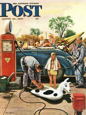 """""""Inflating Beach Toy,"""" Saturday Evening Post Cover, August 20, 1949"""