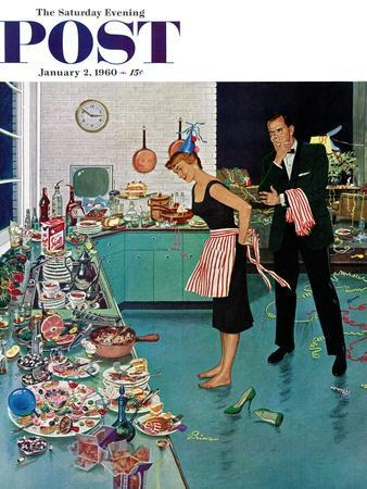 """""""After Party Clean-up,"""" Saturday Evening Post Cover, January 2, 1960"""