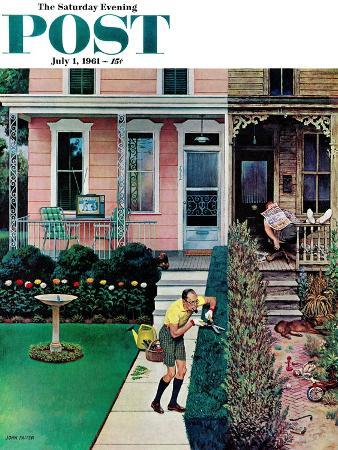 """Tidy and Sloppy Neighbors,"" Saturday Evening Post Cover, July 1, 1961"