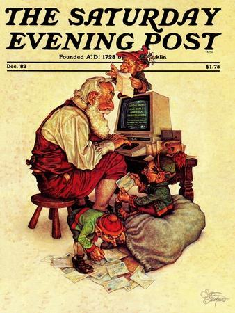 """Santa's Computer,"" Saturday Evening Post Cover, December 1, 1982"