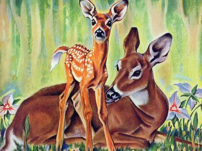 """Doe and Fawn in Forest,"" June 1, 1940"