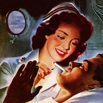 """Lighting His Cigarette,"" October 23, 1943"
