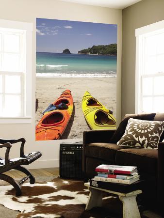 Kayaks on Beach, Hahei, Coromandel Peninsula, North Island, New Zealand