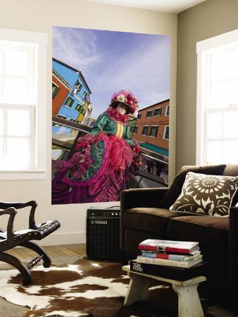 Woman in Costume For the Annual Carnival Festival, Burano Island, Venice, Italy