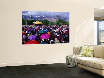 Audience at Dalai Lama Sermon and Zansker Range in Distance, Choglamsar