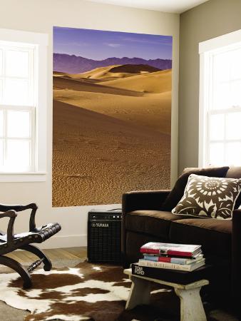 Cadiz Dunes at Sunrise, Calumet Mountains in Distance in Mojave Desert