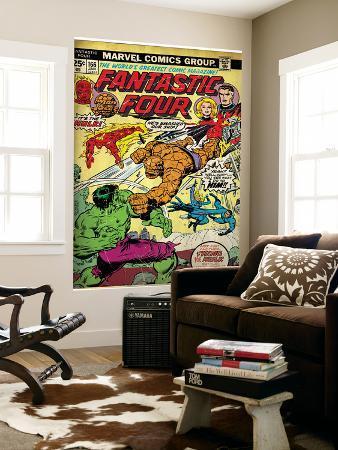 Marvel Comics Retro: Fantastic Four Family Comic Book Cover No.166, Thing Vs. Hulk (aged)