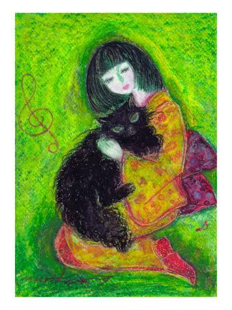 A Japanese Dress Girl Holds Black Cat