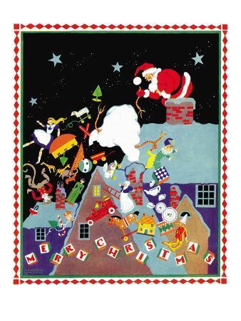 Santa  dropping toys - Child Life, December 1934