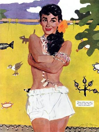 """The Exile of Paradise Island  - Saturday Evening Post """"Leading Ladies"""", September 4, 1954 pg.29"""