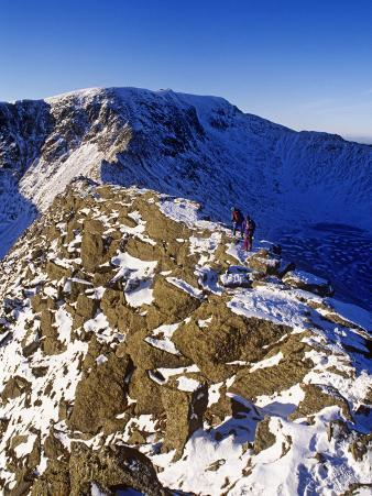 Winter Walking and Climbing on Hellvelyn, the Lake District, Cumbria