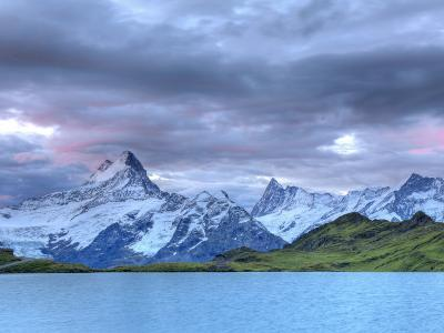Switzerland, Bernese Oberland, Grindelwald, First, Bachalpsee and Mt Schreckhorn