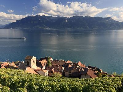 Switzerland, Vaud, Lavaux Vineyards, St; Saphorin Village and Lac Leman / Lake Geneva