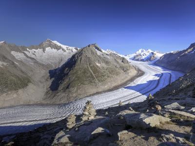 Switzerland, Valais, Jungfrau Region, Aletsch Glacier from Mt; Eggishorn (Unesco Site)