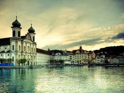 Switzerland, Lucern (Luzern), Jesuit Church and River Reuss