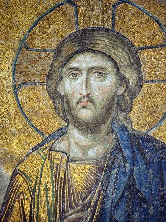 Turkey, Istanbul, Hagia Sophia; Detail from the Deesis Mosaic